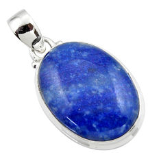 14.35cts natural blue quartz palm stone 925 sterling silver pendant r46167