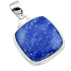 15.72cts natural blue quartz palm stone 925 sterling silver pendant r46171