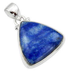 14.20cts natural blue quartz palm stone 925 sterling silver pendant r46173