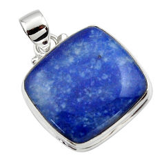 17.85cts natural blue quartz palm stone 925 sterling silver pendant r46174