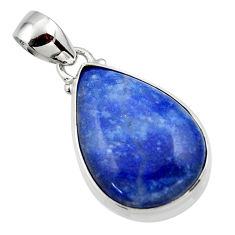 12.68cts natural blue quartz palm stone 925 sterling silver pendant r46178