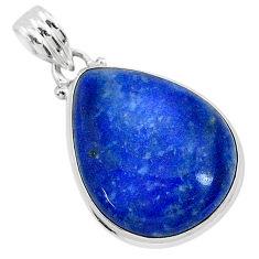 16.62cts natural blue quartz palm stone 925 sterling silver pendant r94836