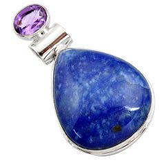 19.23cts natural blue quartz palm stone amethyst 925 silver pendant r27882