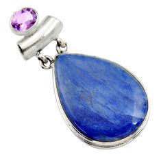 27.52cts natural blue quartz palm stone amethyst 925 silver pendant r30619