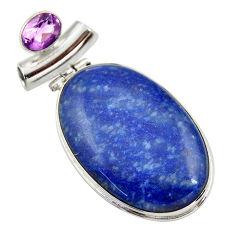 33.68cts natural blue quartz palm stone amethyst 925 silver pendant r30620
