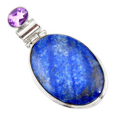 22.02cts natural blue quartz palm stone amethyst 925 silver pendant r32034