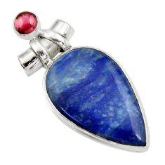 30.49cts natural blue quartz palm stone garnet 925 silver pendant r30614