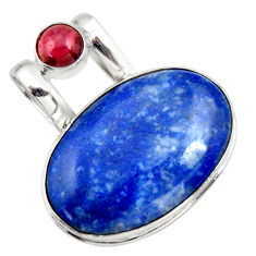 22.90cts natural blue quartz palm stone red garnet 925 silver pendant r32033