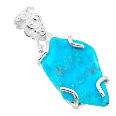 10.11cts natural blue raw turquoise 925 sterling silver pendant t14951