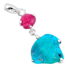 9.72cts natural blue raw turquoise ruby rough 925 silver pendant t14918