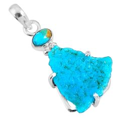 12.07cts natural blue rough sleeping beauty turquoise 925 silver pendant r62372