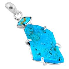 14.26cts natural blue rough sleeping beauty turquoise 925 silver pendant r62373
