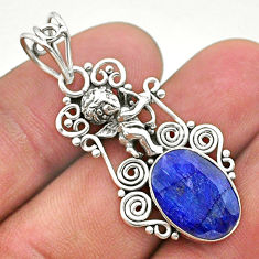 6.10cts natural blue sapphire 925 sterling silver angel pendant jewelry t40770