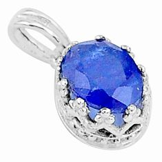 2.64cts natural blue sapphire 925 sterling silver crown pendant jewelry t5132
