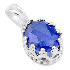 2.91cts natural blue sapphire 925 sterling silver crown pendant jewelry t5137