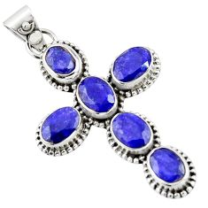 9.04cts natural blue sapphire 925 sterling silver holy cross pendant r20790