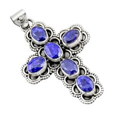 8.42cts natural blue sapphire 925 sterling silver holy cross pendant r20793