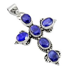 8.80cts natural blue sapphire 925 sterling silver holy cross pendant r20795