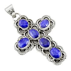 8.42cts natural blue sapphire 925 sterling silver holy cross pendant r20796