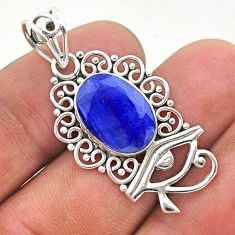 5.84cts natural blue sapphire 925 sterling silver horse eye pendant t40798