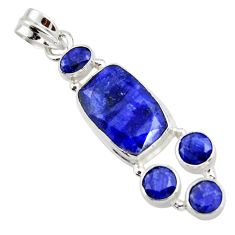 12.34cts natural blue sapphire 925 sterling silver pendant jewelry r43021