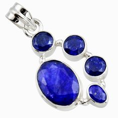 10.30cts natural blue sapphire 925 sterling silver pendant jewelry r43022