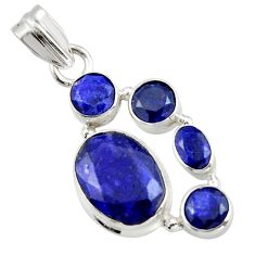 9.74cts natural blue sapphire 925 sterling silver pendant jewelry r43023