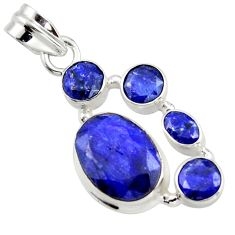 10.38cts natural blue sapphire 925 sterling silver pendant jewelry r43025