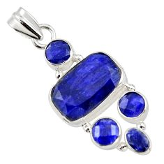 12.51cts natural blue sapphire 925 sterling silver pendant jewelry r43027