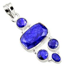 12.27cts natural blue sapphire 925 sterling silver pendant jewelry r43029
