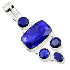 12.04cts natural blue sapphire 925 sterling silver pendant jewelry r43030