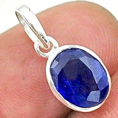 3.01cts natural blue sapphire 925 silver handmade pendant jewelry t16320