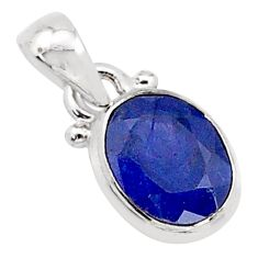 3.09cts natural blue sapphire 925 silver pendant jewelry t16741