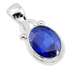 2.94cts natural blue sapphire 925 silver pendant jewelry t16742