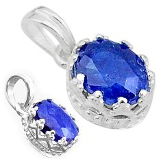 2.74cts natural blue sapphire 925 sterling silver pendant jewelry t22282