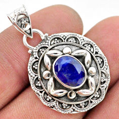 3.13cts natural blue sapphire 925 sterling silver pendant jewelry t42922