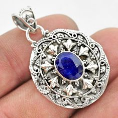 3.28cts natural blue sapphire 925 sterling silver pendant jewelry t42942