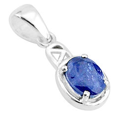 2.09cts natural blue sapphire 925 sterling silver handmade pendant t5128
