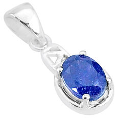 1.70cts natural blue sapphire 925 sterling silver handmade pendant t5129