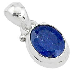 2.93cts natural blue sapphire 925 sterling silver handmade pendant t5261