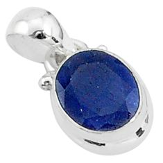 2.91cts natural blue sapphire 925 sterling silver handmade pendant t5273