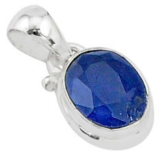 2.64cts natural blue sapphire 925 sterling silver handmade pendant t5275