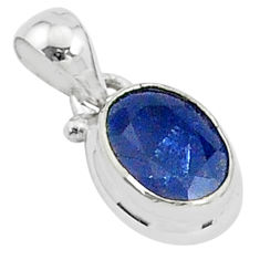 2.66cts natural blue sapphire 925 sterling silver handmade pendant t5276