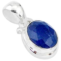 2.94cts natural blue sapphire 925 sterling silver pendant jewelry t5521
