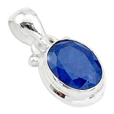 3.20cts natural blue sapphire 925 sterling silver pendant jewelry t5527