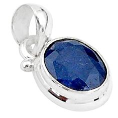 3.22cts natural blue sapphire 925 sterling silver pendant jewelry t5533