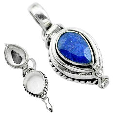 2.34cts natural blue sapphire 925 sterling silver poison box pendant t52576