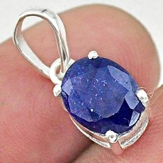 3.01cts natural blue sapphire oval 925 silver handmade pendant jewelry t16303