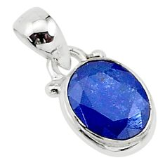 3.06cts natural blue sapphire oval 925 silver pendant jewelry t16747