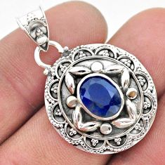 3.14cts natural blue sapphire oval 925 sterling silver pendant jewelry t42923